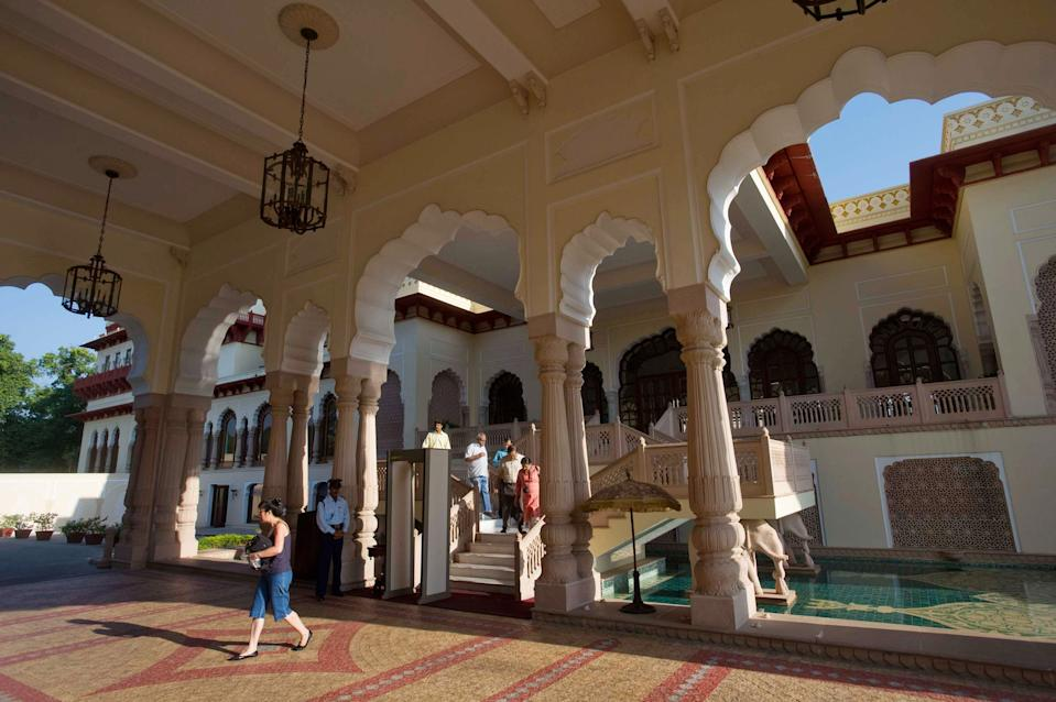 Inside the Rambagh Palace, former residence of the Maharaja of Jaipur, which is now operated as a five-star hotel by the Taj Hotels Group.