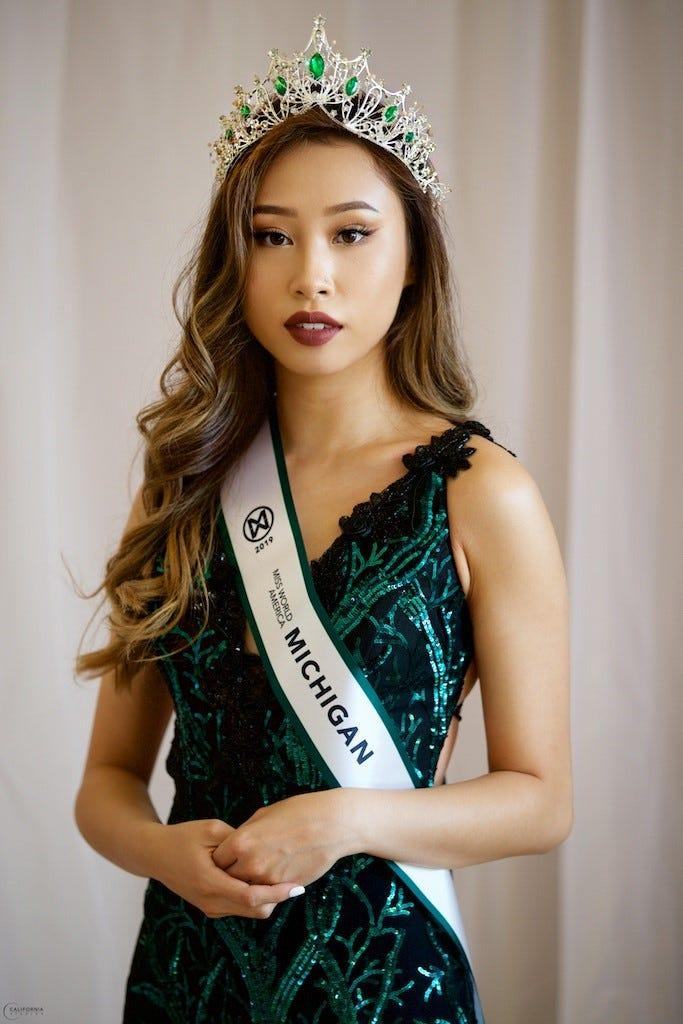 Kathy Zhu, 20, accepting her Miss Michigan Crown on Sunday, July 14.