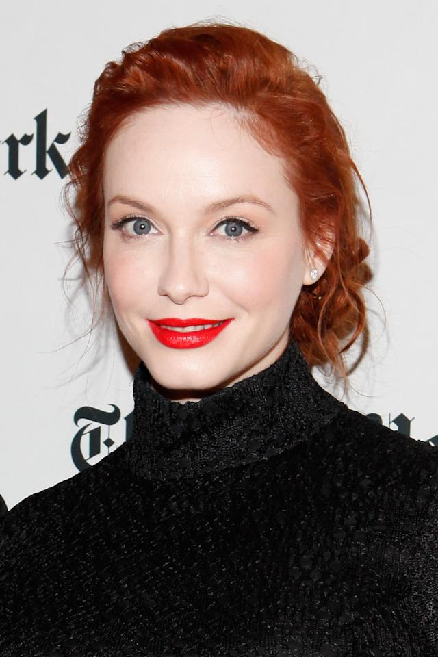 "NEW YORK, NY - MARCH 20:  Actress Christina Hendricks attends attends the TimesTalk: A Conversation with the Cast of ""Mad Men"" at The Times Center on March 20, 2012 in New York City.  (Photo by Cindy Ord/Getty Images)"