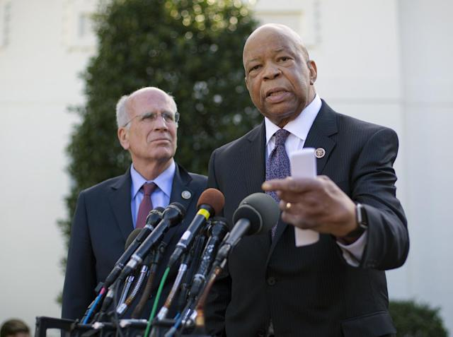 Rep. Elijah Cummings, D-Md., accompanied by Rep. Peter Welch, D-Vt., speaks to members of the media outside the West Wing of the White House in Washington, Wednesday, March 8, 2107, following their meeting with President Donald Trump. (AP Photo/Pablo Martinez Monsivais)