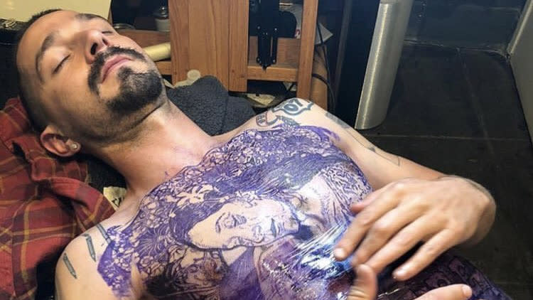 Shia LaBeouf got an extensive chest tattoo for his role in 'The Tax Collector'. (Credit: Instagram/bryanramirezart)