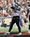 New Orleans Saints running back Alvin Kamara celebrates his touchdown in the first half of an NFL football game against the Cincinnati Bengals, Sunday, Nov. 11, 2018, in Cincinnati. (AP Photo/Frank Victores)