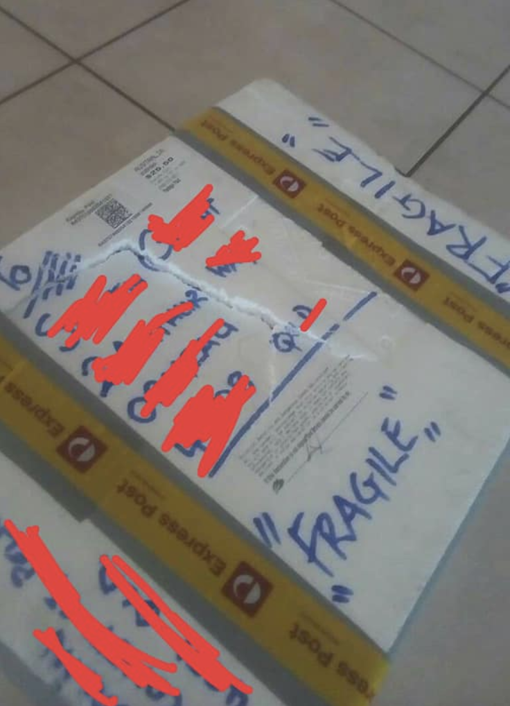 "The package is seen with ""fragile"" written across it numerous times. Source: Facebook"