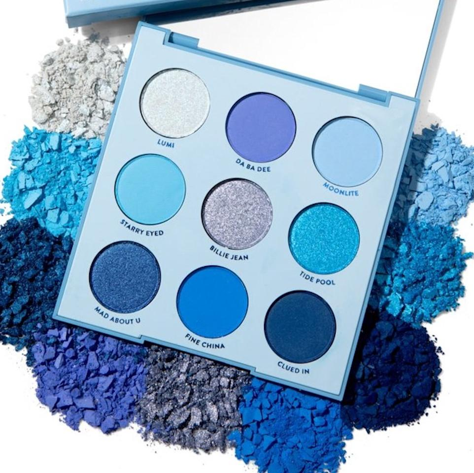 """<p>Ringing up at less than $15, consider the Colourpop Blue Moon Shadow Palette your blue eye shadow starter kit. It's less than $15. You can ease into the trend with softer hues like the metallic icy blue called Lumi, a metallic icy blue, and Moonlite (a matte baby blue) in the top row. When you're ready to turn up the intensity, jump down to the bottom row and dip into the shimmery sapphire labeled Mad About U and Fine China (a matte cobalt).</p> <p>$12 (<a href=""""https://colourpop.com/products/blue-moon"""" rel=""""nofollow"""">Shop Now</a>)</p>"""