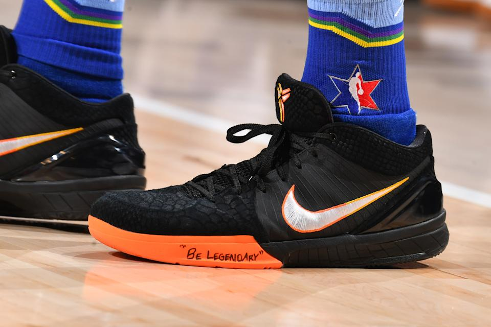 Booker's All-Star sneakers with a little reminder.