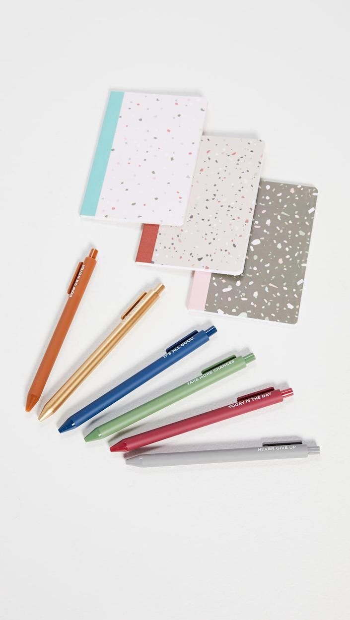 <p>This <span>Mini Notebook and Pen Set</span> ($20) is a cute stocking stuffer.</p>