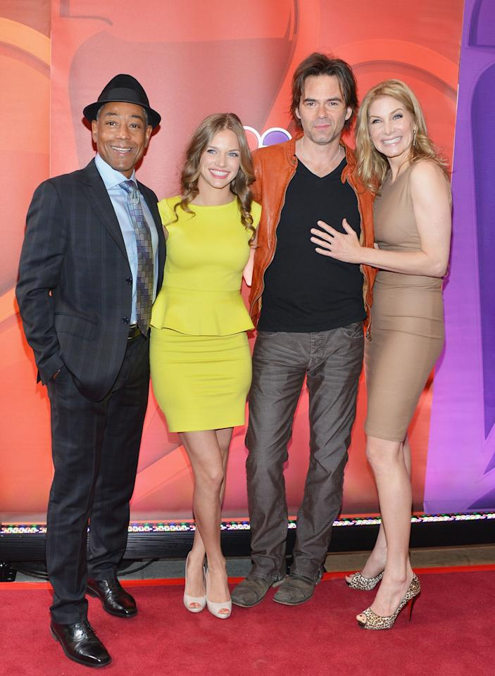 NEW YORK, NY - MAY 13:  (L-R) Actors Giancarlo Esposito, Tracy Spiridakos, Billy Burke and Elizabeth Mitchell attend 2013 NBC Upfront Presentation Red Carpet Event at Radio City Music Hall on May 13, 2013 in New York City.  (Photo by Slaven Vlasic/Getty Images)