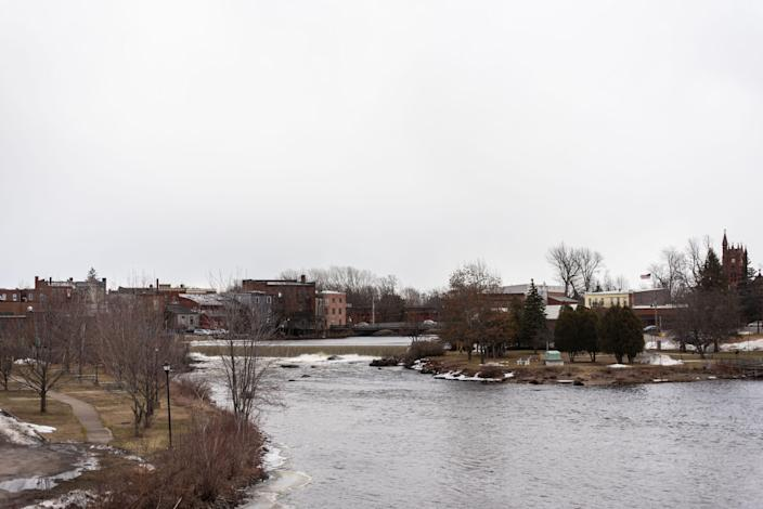 The Raquette River flows through Potsdam, St. Lawrence County, on Friday, March 12, 2021.