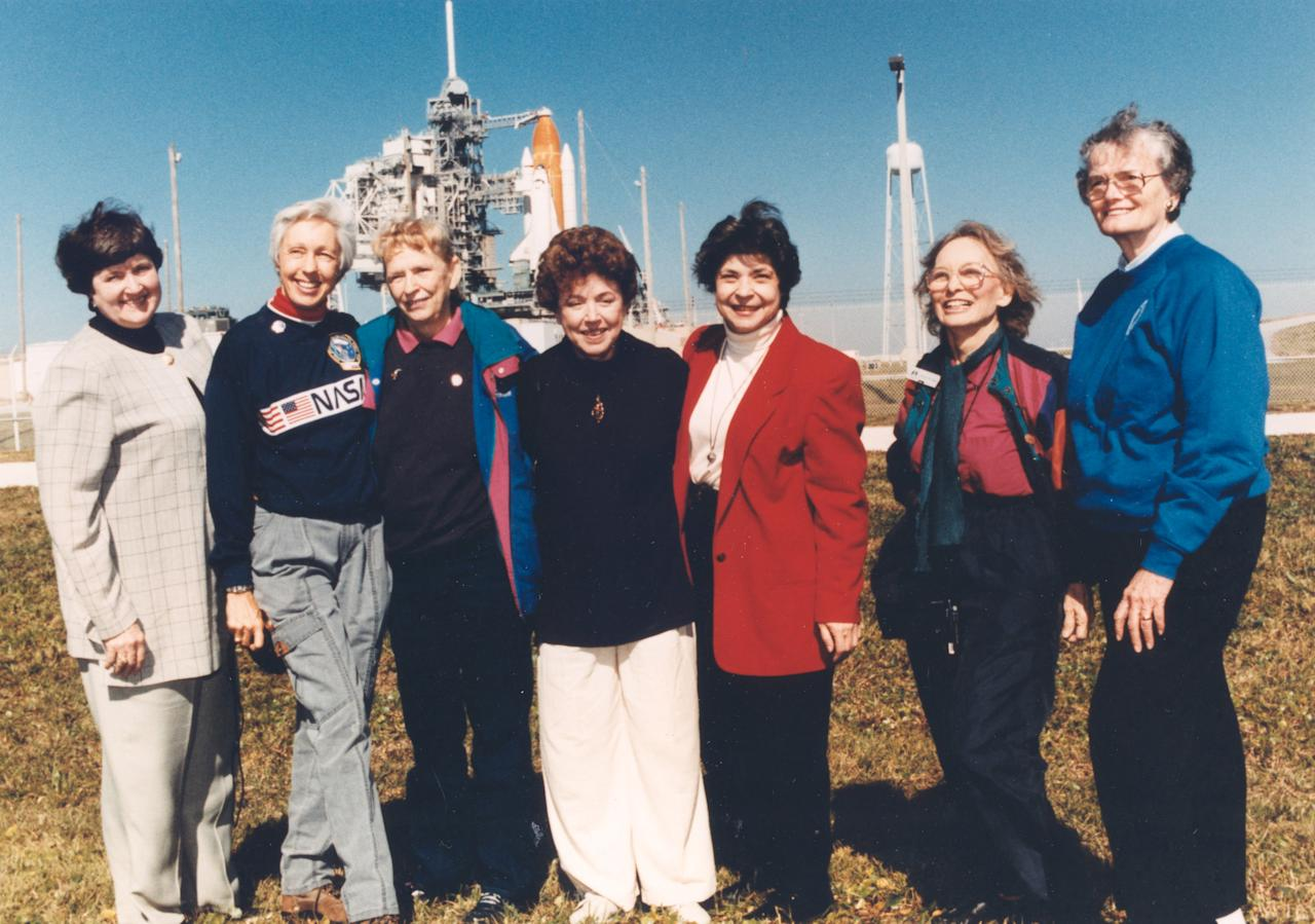 "Seven members of the First Lady Astronaut Trainees, also known as the ""Mercury 13"", a group of women who trained to become astronauts for America's first human spaceflight program in the early 1960s, gather outside Launch Pad 39B near the Space Shuttle Discovery at NASA's Kennedy Space Center in Cape Canaveral, Florida, U.S., in this 1995 photo. (L-R) Gene Nora Jessen, Wally Funk, Jerrie Cobb, Jerri Truhill, Sarah Rutley, Myrtle Cagle and Bernice Steadman.   Courtesy NASA/Handout via REUTERS  ATTENTION EDITORS - THIS IMAGE HAS BEEN SUPPLIED BY A THIRD PARTY."