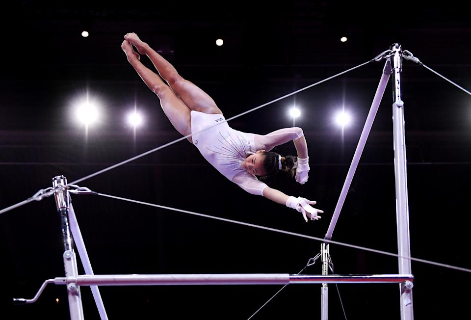 <p>Suni is a true star on the uneven bars. Her uneven bars routine is considered one of the most difficult in the world. (Photo by Laurence Griffiths/Getty Images)</p>
