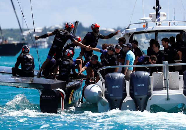 Sailing - America's Cup finals - Hamilton, Bermuda - June 25, 2017 - Crew and support personal of Emirates Team New Zealand after win over Oracle Team USA in races seven and eight in America's Cup finals . REUTERS/Mike Segar