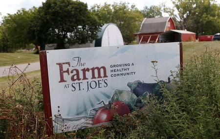 A 'Growing a Healthy Community' sign is seen at the entrance to the vegetable gardens across from Saint Joseph Mercy hospital in Ypsilanti, Michigan, U.S., August 23, 2017. Picture taken August 23, 2017. REUTERS/Rebecca Cook