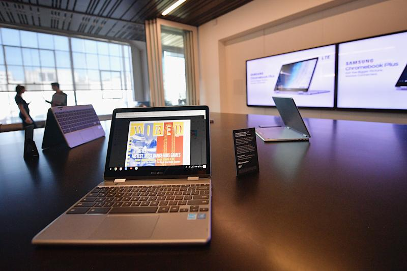 SAN FRANCISCO, CA - OCTOBER 12: Samsung Chromebook Plus displayed at WIRED25 Work: Inside San Francisco's Most Innovative Workplaces on October 12, 2018 in San Francisco, California. (Photo by Matt Winkelmeyer/Getty Images for WIRED25 )