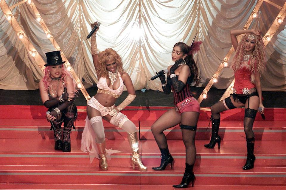 """<p>In 2001, Pink collaborated with Christina Aguilera, Lil' Kim and Mya on the remake of """"Lady Marmalade,"""" originally sung by Patti LaBelle. The cover earned the women a Grammy for pop collaboration with vocals. </p>"""