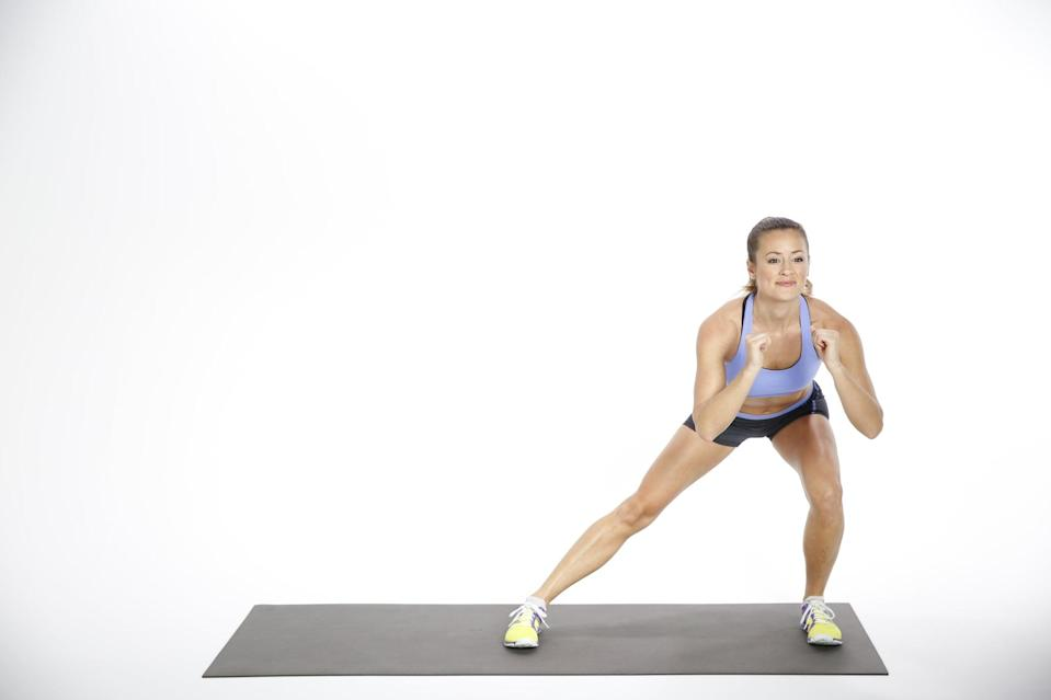 <ul> <li>Stand with your feet wider than hip-width apart and your arms by your sides. Pull your core in toward your spine and brace it, keeping it engaged throughout the movement.</li> <li>Bend at the right hip and knee to lower into a lateral squat, ensuring your right knees remains in line with your toes. Keep your left leg straight and both feet flat on the floor. As you squat, bend your arms to lift your hands to your chest and continue looking straight ahead, keeping your core tight and chest lifted.</li> <li>Drive through your right heel to straighten your right leg and return to the starting position.</li> <li>Repeat on the other side.</li> <li>This counts as one rep. Continue alternating sides for 30 seconds while maintaining proper form.</li> </ul>