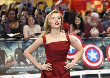 """Scarlett Johansson arrives at the UK premiere of """"Captain America: The Winter Soldier"""" at Shepherds Bush in London"""