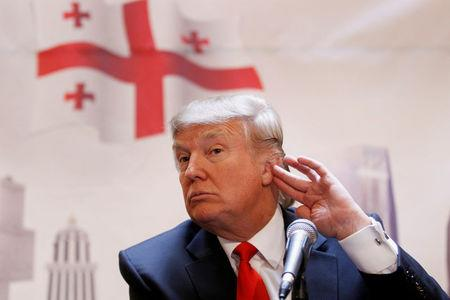 FILE PHOTO: Donald Trump speaks to the press during an announcement in New York