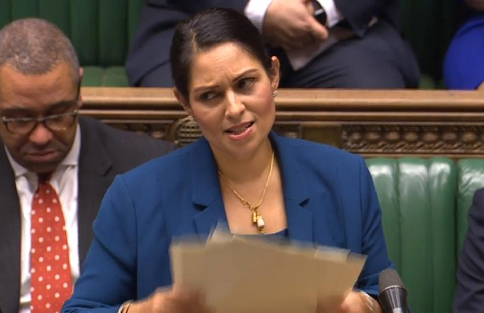 Home Secretary Priti Patel speaks the on the UK points-based immigration system in the House of Commons, London. (Photo by House of Commons/PA Images via Getty Images)