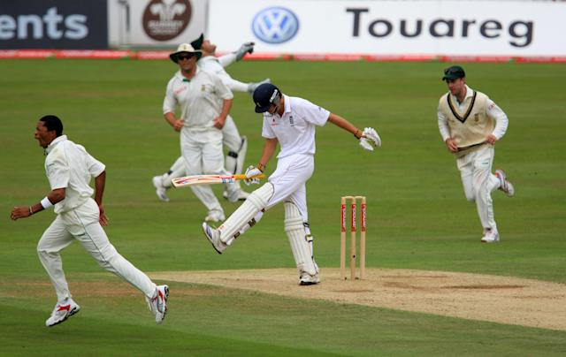 <p>But he didn't carry that form into 2008. Cook seemed unable to turn 50s into 100s and his frustration showed during the series against South Africa (Getty Images) </p>