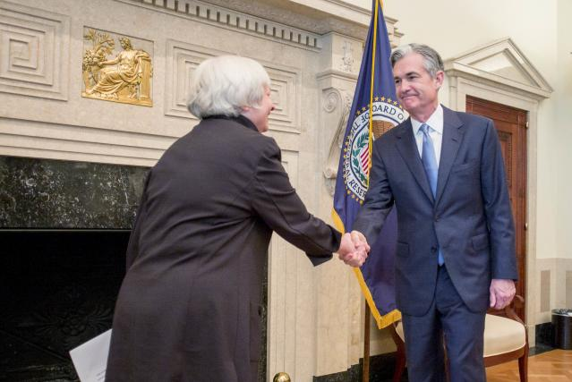 This week will mark the final Federal Reserve meeting with Janet Yellen (L) as chair of the central bank. Yellen will be replaced by Jerome Powell (R) next month after his Senate confirmation this past week. REUTERS/U.S. Federal Reserve