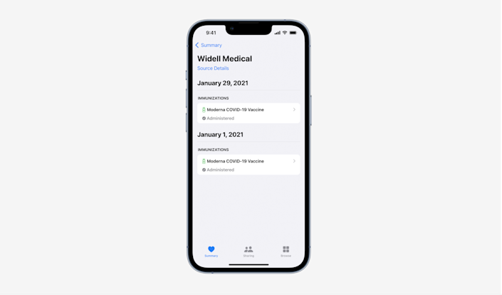 COVID vaccination integration with iOS Health app