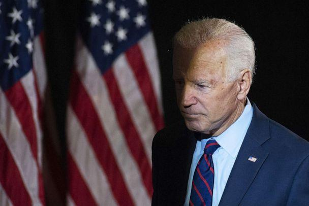 PHOTO: Former Vice President Joe Biden exits after making remarks about the DNI Whistleblower Report as well as President Trumps ongoing abuse of power at the Hotel DuPont on Sept. 24, 2019, in Wilmington, Del. (William Thomas Cain/Getty Images)