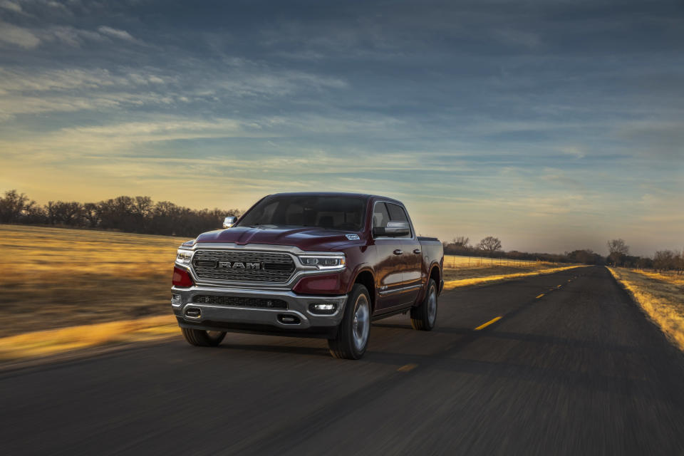 This photo provided by FCA US shows the 2020 Ram 1500, the finest full-size pickup truck on the market. It is discounted more heavily than its primary rivals, which helps bolster the Ram's value proposition. (Courtesy of FCA US via AP)