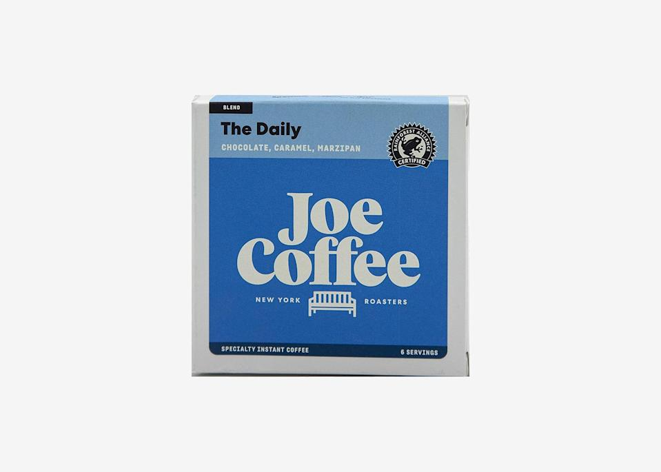 """<p>Don't get us wrong, we love the occasional cup of McDonald's coffee to-go, but sometimes we want a little something extra. Luckily, New York City's Joe Coffee makes an <a href=""""https://www.cntraveler.com/story/we-taste-tested-nine-different-travel-friendly-coffees-this-was-the-best-of-the-bunch?mbid=synd_yahoo_rss"""" rel=""""nofollow noopener"""" target=""""_blank"""" data-ylk=""""slk:instant coffee"""" class=""""link rapid-noclick-resp"""">instant coffee</a> that tastes almost identical to what it serves in-store. The individual serving-sized packets dissolve no matter the water temperature, so you can use it to make iced coffee, too.</p> <p><strong>Buy now:</strong> <a href=""""https://amzn.to/2Cfz38r"""" rel=""""nofollow noopener"""" target=""""_blank"""" data-ylk=""""slk:$20, amazon.com"""" class=""""link rapid-noclick-resp"""">$20, amazon.com</a> or <a href=""""https://joecoffeecompany.com/shop/colombia-la-familia-guarnizo-specialty-instant-coffee/"""" rel=""""nofollow noopener"""" target=""""_blank"""" data-ylk=""""slk:joecoffeecompany.com"""" class=""""link rapid-noclick-resp"""">joecoffeecompany.com</a></p>"""