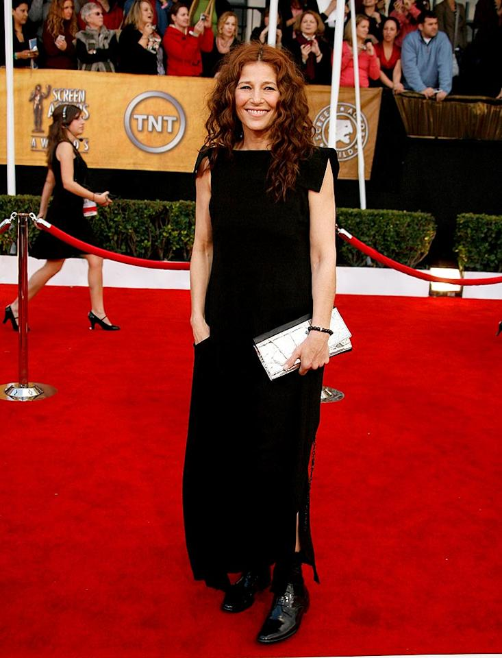 """Catherine Keener dons boots to avoid getting wet on the slushy red carpet. Jeff Vespa/<a href=""""http://www.wireimage.com"""" target=""""new"""">WireImage.com</a> - January 27, 2008"""
