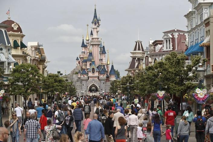 "Disneyland Paris, shown in pre-pandemic times, is about 26 miles east of the French capital. <span class=""copyright"">(Michel Euler / Associated Press)</span>"