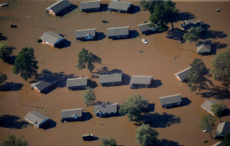 An aerial view of a neighborhood that was flooded after Hurricane Matthew in Lumberton, North Carolina October 10, 2016. (Photo: Chris Keane/Reuters)