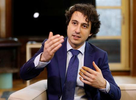 Dutch Green Party ( Groen Links)  leader Jesse Klaver poses for a photo during an interview for the 2017 Dutch election in the Hague