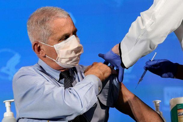 PHOTO: Dr. Anthony Fauci, director of the National Institute of Allergy and Infectious Diseases, prepares to receive his first dose of the new Moderna COVID-19 vaccine at the National Institutes of Health on Dec. 22, 2020. (Pool/Reuters)