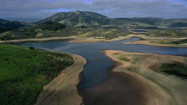 PHOTO: In an aerial view, low water levels are visible at Nicasio Reservoir on April 23, 2021, in Nicasio, Calif. (Justin Sullivan/Getty Images)
