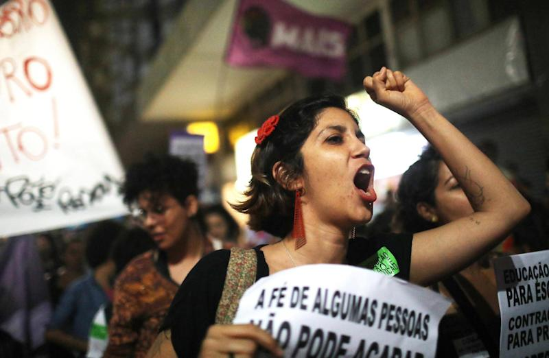 Women march for pro-choice rights in Rio de Janeiro, Brazil, on 28 September: Getty Images