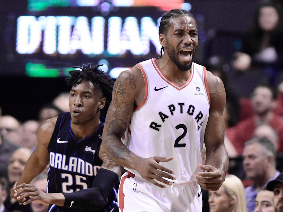 Toronto Raptors forward Kawhi Leonard (2) heads up court during the first half in Game 5 of a first-round NBA basketball playoff series against the Orlando Magic, Tuesday, April 23, 2019 in Toronto. (Frank Gunn/Canadian Press via AP)
