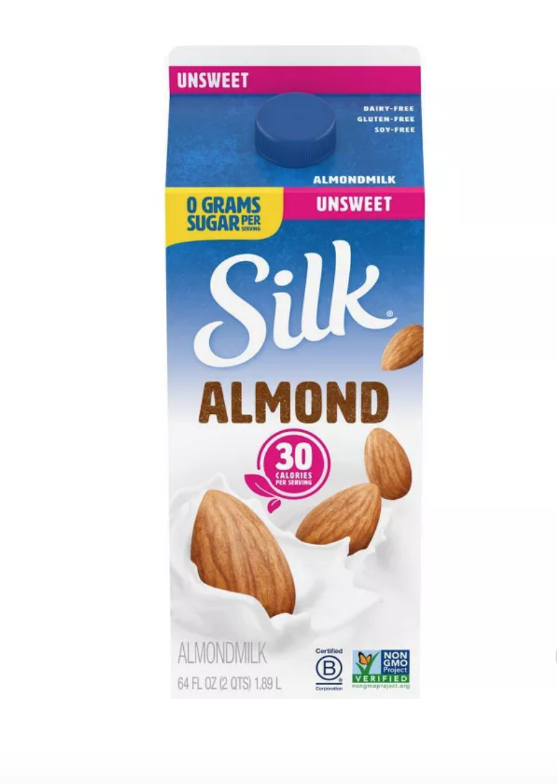 """<p><a class=""""link rapid-noclick-resp"""" href=""""https://www.target.com/p/silk-pure-almond-unsweetened-original-almond-milk-0-5gal/-/A-14936352"""" rel=""""nofollow noopener"""" target=""""_blank"""" data-ylk=""""slk:BUY NOW"""">BUY NOW</a> <em><strong>$4, target.com</strong></em></p><p>Target is stocked up on dairy-free products, including the top-selling Silk almond milk.</p>"""