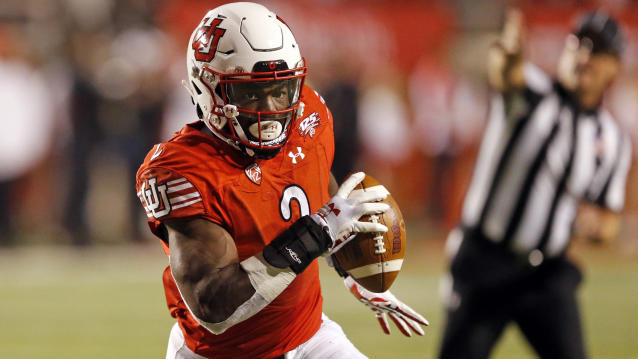 FILE - In this Oct. 20, 2018, file photo, Utah running back Zack Moss (2) carries the ball in the second half during an NCAA college football game against Southern California, in Salt Lake City. The Utes were selected to win the Pac-12 in the preseason media poll and they're also ranked in the preseason coaches' poll. (AP Photo/Rick Bowmer, File)