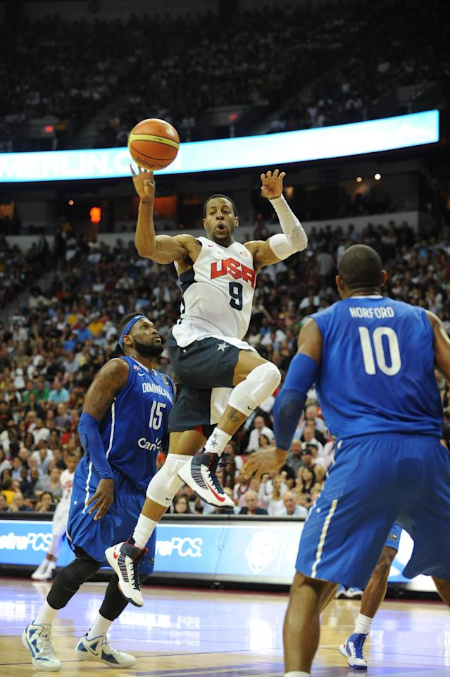 LAS VEGAS, NV - JULY 12: Andre Iguodala #9 of the US Men's Senior National Team passes against the Dominican Republic during an exhibition game at the Thomas and Mack Center on July 12, 2012 in Las Vegas, Nevada. NOTE TO USER: User expressly acknowledges and agrees that, by downloading and/or using this Photograph, user is consenting to the terms and conditions of the Getty Images License Agreement. Mandatory Copyright Notice: Copyright 2012 NBAE (Photo by Noah Graham/NBAE via Getty Images)
