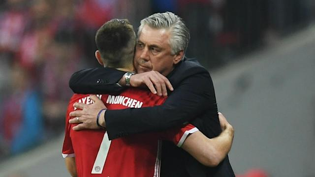 Franck Ribery was in a fine mood after Carlo Ancelotti got physical with him during Bayern Munich's win over Borussia Dortmund.