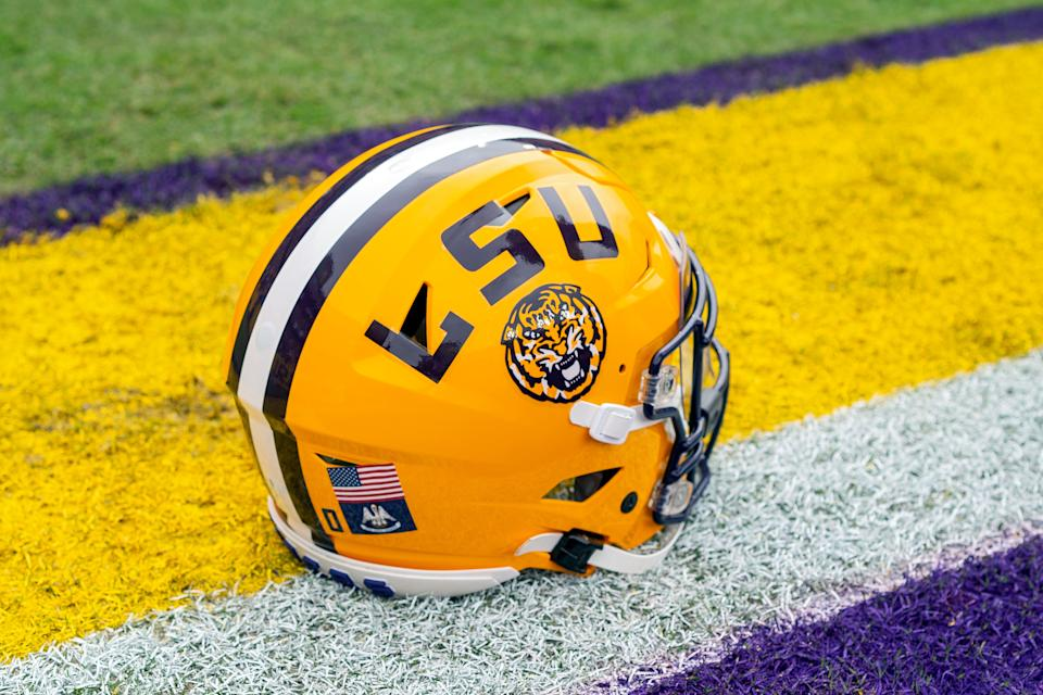 BATON ROUGE, LA - OCTOBER 26: An LSU helmet rests on the sideline before a game between the LSU Tigers and the Auburn Tigers in Tiger Stadium in Baton Rouge, Louisiana on October 26, 2019. (Photo by John Korduner/Icon Sportswire via Getty Images)