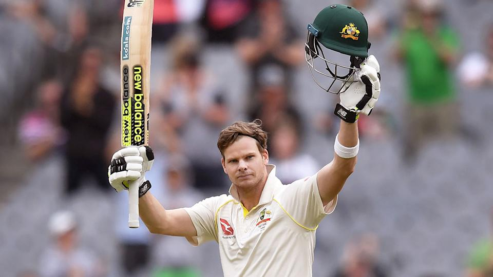 Steve Smith is seen here celebrating during the 2017-18 Ashes series.