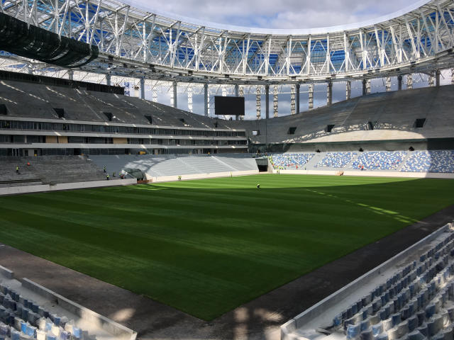 <p>Nizhny Novgorod Stadium, Nizhny Novgorod<br>Year opened: 2018<br>Capacity: 44,899<br>Which games: Four group games (including England v Panama), one last 16 tie, one quarter final<br>Fun fact: Stadium's design is said to have been inspired by the region's natural aspects, wind and water. </p>