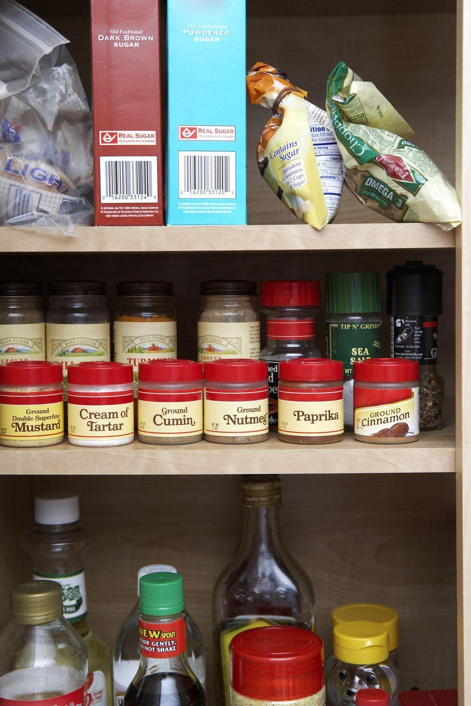<p>There are plenty of pantry staples that last for years on end, but others—like canned goods and spices—do need to be replaced periodically. Do a pass through your pantry, and toss anything that's expired. Make a mental note to use anything with looming expiration dates. </p>
