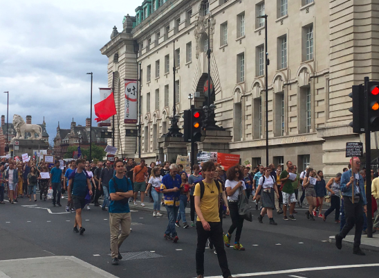 "Protest: Whitehall demonstrators can be heard chanting ""Boris Johnson, shame on you"" as they block the Westminster Bridge. (Twitter)"