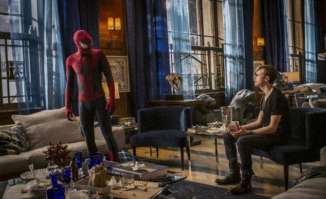"This image released by Sony Pictures shows Andrew Garfield and Dane DeHaan in ""The Amazing Spider-Man 2."" (AP Photo/Columbia Pictures - Sony Pictures, Niko Tavernise)"