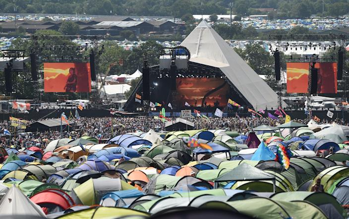 The Pyramid stage at Glastonbury Festival on Worthy Farm near the village of Pilton in Somerset, June 29, 2019. (OLI SCARFF/AFP via Getty Images)