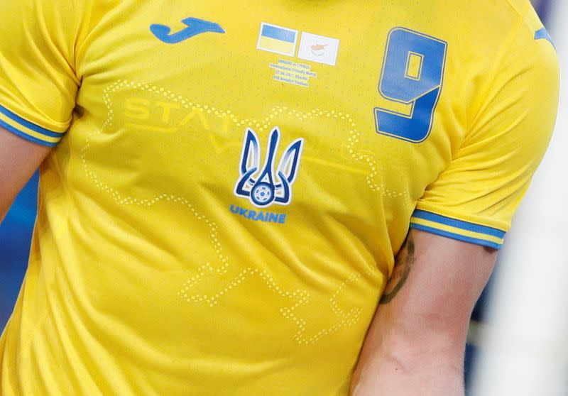 FILE PHOTO: Ukraine's Roman Yaremchuk wears newly unveiled national team jersey emblazoned with a map of Ukraine that includes Crimea during an international friendly match in Kharkiv