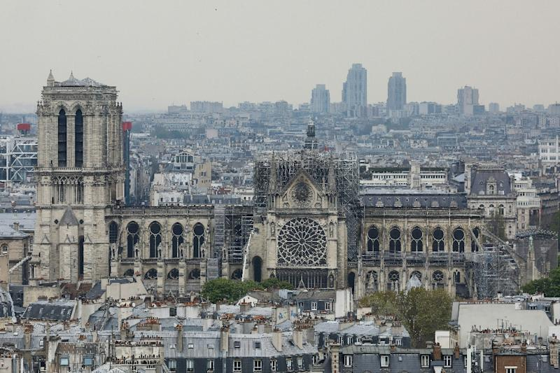 Notre-Dame's spire and most of its roof were destroyed in the fire (AFP Photo/LUDOVIC MARIN)