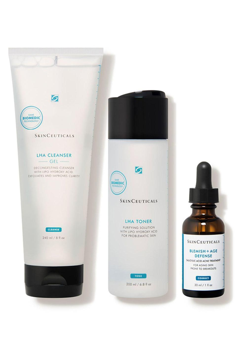 """<p><strong>SkinCeuticals</strong></p><p>dermstore.com</p><p><strong>$130.00</strong></p><p><a href=""""https://go.redirectingat.com?id=74968X1596630&url=http%3A%2F%2Fwww.dermstore.com%2Fproduct_Adult%2BAntiAcne%2BSystem_38329.htm&sref=https%3A%2F%2Fwww.elle.com%2Fbeauty%2Fmakeup-skin-care%2Fg33433197%2Fbest-skin-care-sets%2F"""" rel=""""nofollow noopener"""" target=""""_blank"""" data-ylk=""""slk:Shop Now"""" class=""""link rapid-noclick-resp"""">Shop Now</a></p><p>Adulting comes with its successes and failures, but one thing that's difficult to combat is adult acne. Skinceuticals has the remedy. Featuring three products—cleanser, toner, and serum—the simple three-step process aims to correct visible imperfections that come with adult acne. Don't forget your SPF!</p>"""